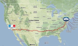 The 3,000 Route for Team RAUSA which starts near the Headquarters of the 100 Mile Club in Norco, CA all the way to the White House in Washington D.C.