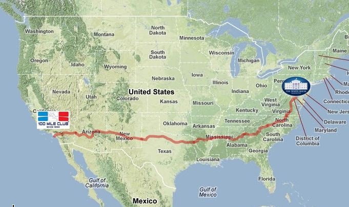 The 3,000 Route for Team RAUSA which starts near the Headquarters of the 100 Mile Club
